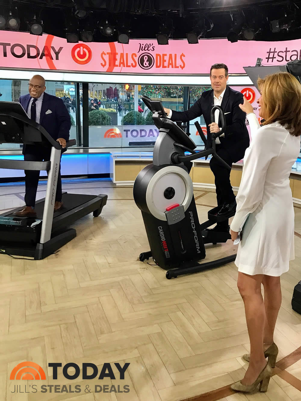CARSON DALY HITS UP THE  PROFORM HIIT TRAINER PRO  AS HODA KOTB COACHES ON THE TODAY SHOW. MEANWHILE AL ROKER TRIES OUT THE  PROFORM 2000 TREADMILL  ON JILL'S STEALS AND DEALS