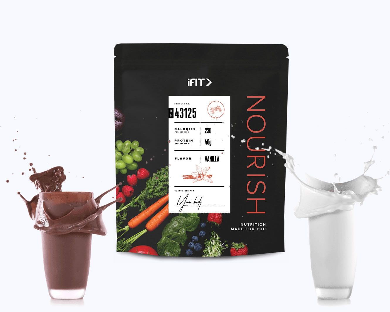 TRY YOUR PERSONALIZED PROTEIN FITNESS SHAKE. FLAVORS - CHOCOLATE & VANILLA