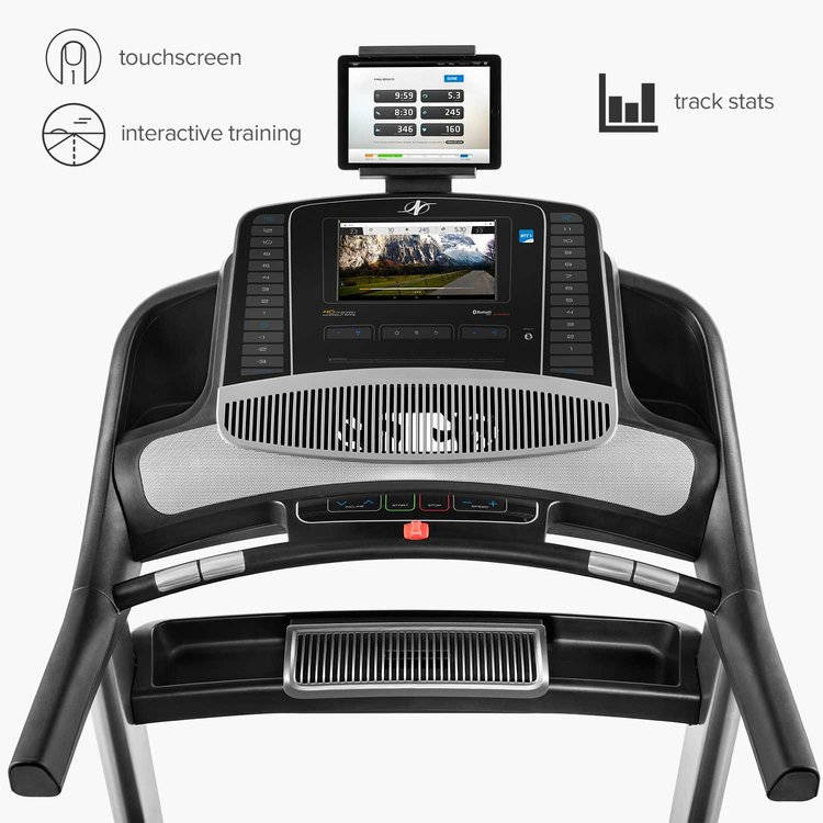The commercial 2450  has a spacious console with a 10 inch HD touchscreen to stream iFit Classes