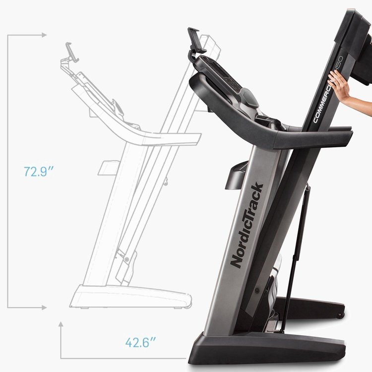 Space Saving Design allows the treadmill's deck to easily fold up