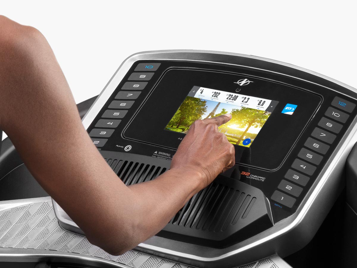 Make quick and easy selections with the  HD touchscreen . You also have the options to mount your own tablet or use the external HDMI port to project streamed iFit classes