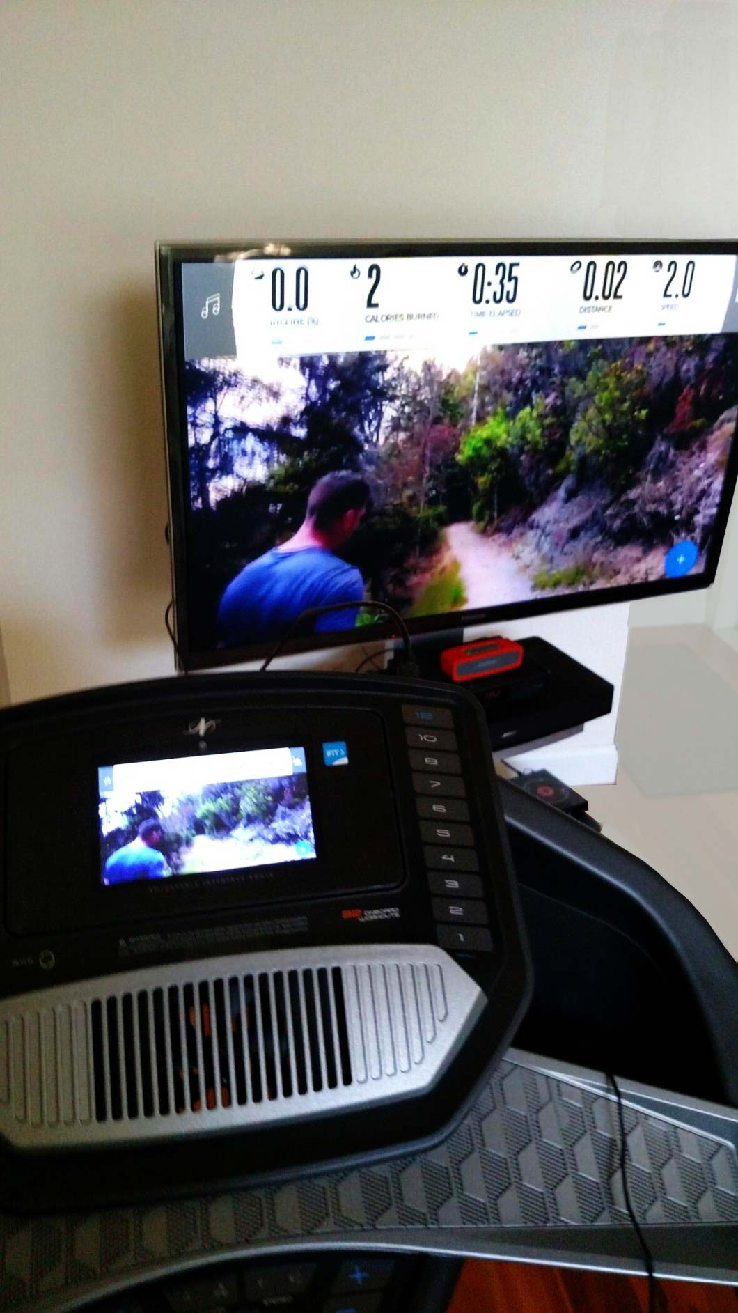 Project iFit workout or class using the external HDMI port. Above uses sound bar to enhance audio