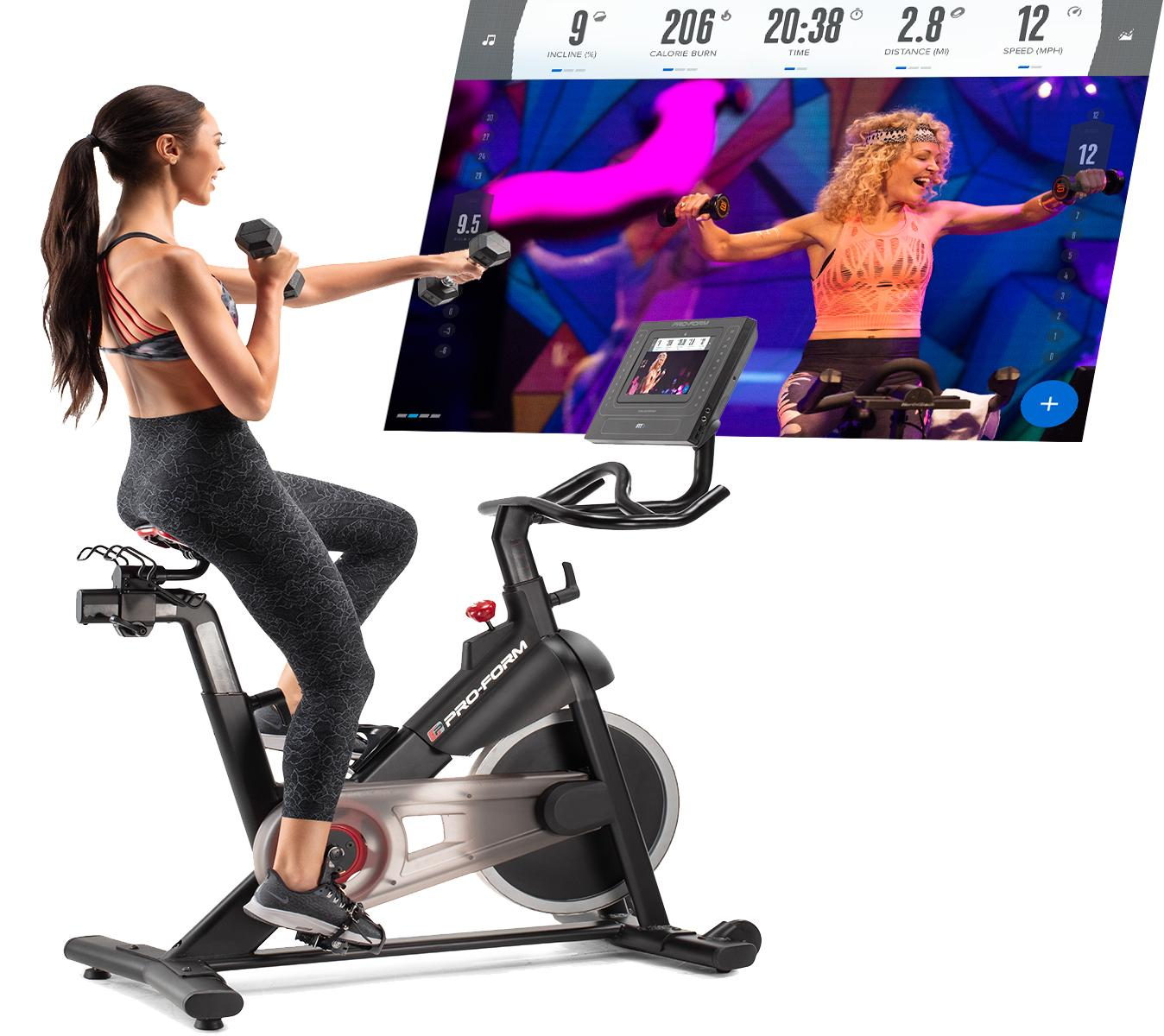 The Proform Studio Bike Pro  comes with a set of 3 lb weights for off and on the bike cross-fit training classes streamed directly to your touchscreen