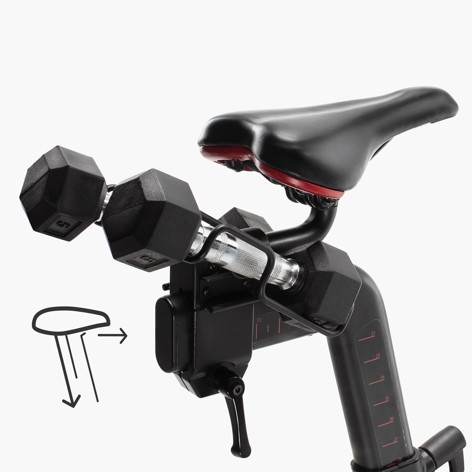 Both the Bike's seat and handle bars easily adjust. The seat in a horizontal and vertical direction. A set of two 3 pound weights is included