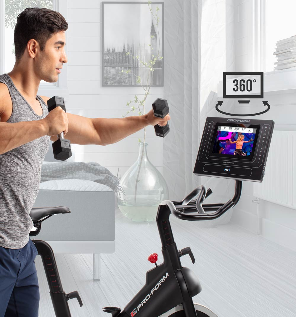 The Console's Swivel Design is great for off-the-bike viewing of iFit classes