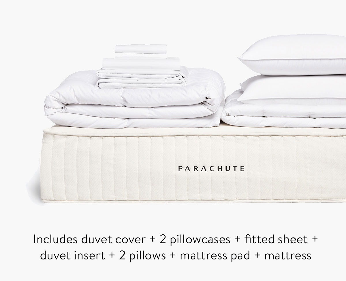 SAVE WITH THE SUPREME BUNDLE - INCLUDED WITH WITH YOUR MATTRESS IS A DUVET COVER +2 PILLOWCASES + FITTED SHEET + DUVET INSERT + 2 PILLOWS & A MATTRESS PAD