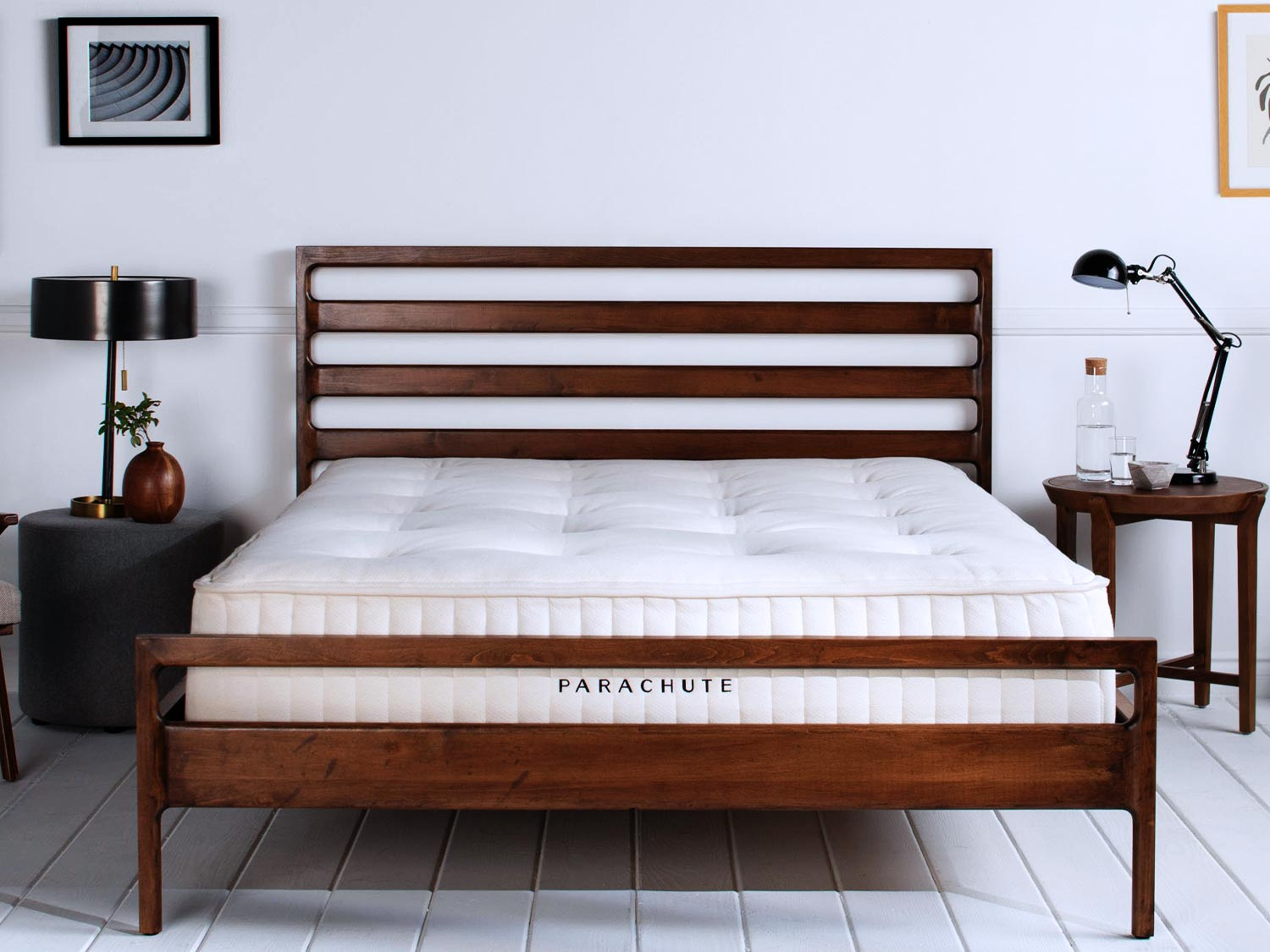 THE PARACHUTE MATTRESS WITH WOOD BED FRAME -  SEE OUR MATTRESS  REVIEW
