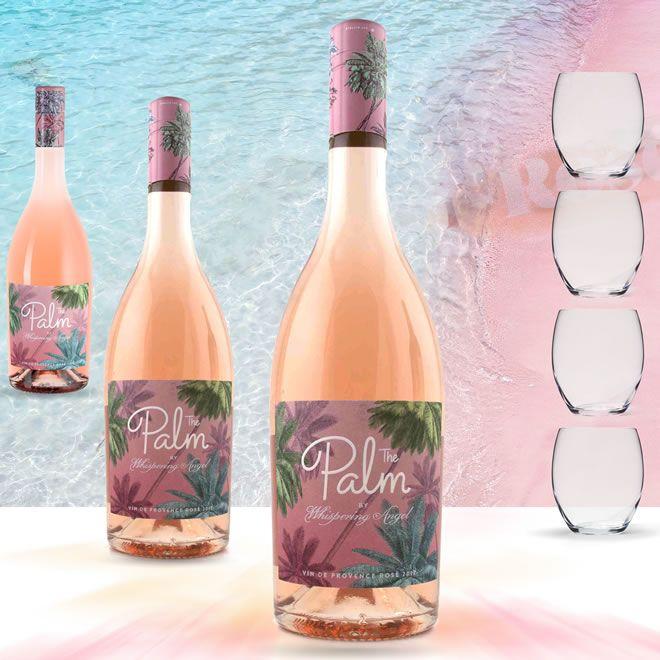 Palm Rosé by  Whispering Angel  Chateau d'Esclans plus glasses