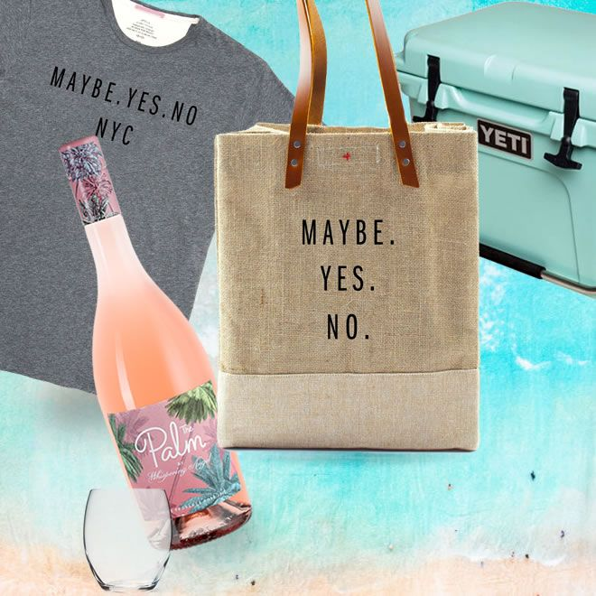 maybe.yes.no t-shirt + a cool tote with Palm Rosé wine and a Yeti Cooler to keep it chilled