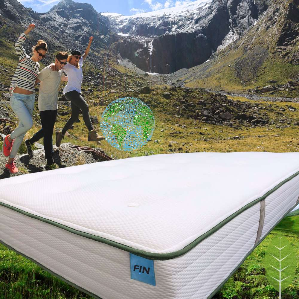 FINGREEN mattress is made of natural latex, New Zealand organic wool and pocketed coils for cool, comfortable sleep.
