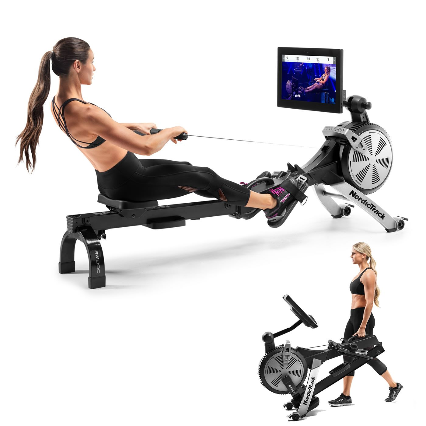 RW900 Rowing Machine  with its wide screen for interactive iFit training plus folding design