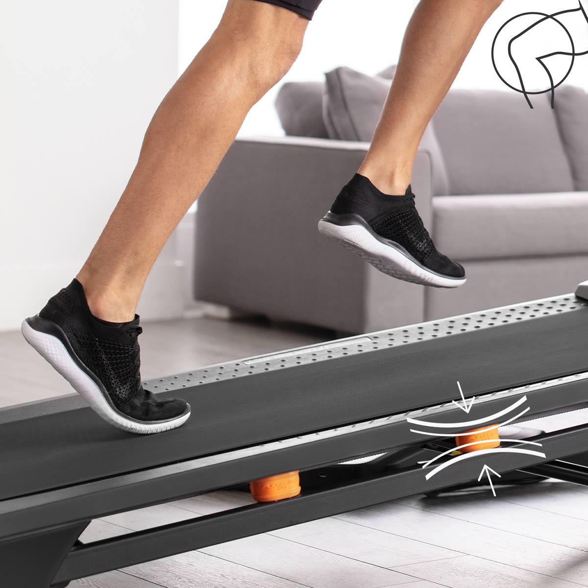 To activate the  Flex Select cushioning  option on the  T Series treadmills  each orange cushioning isolator, on each side of the deck, has to be turned one half turn for impact reduction