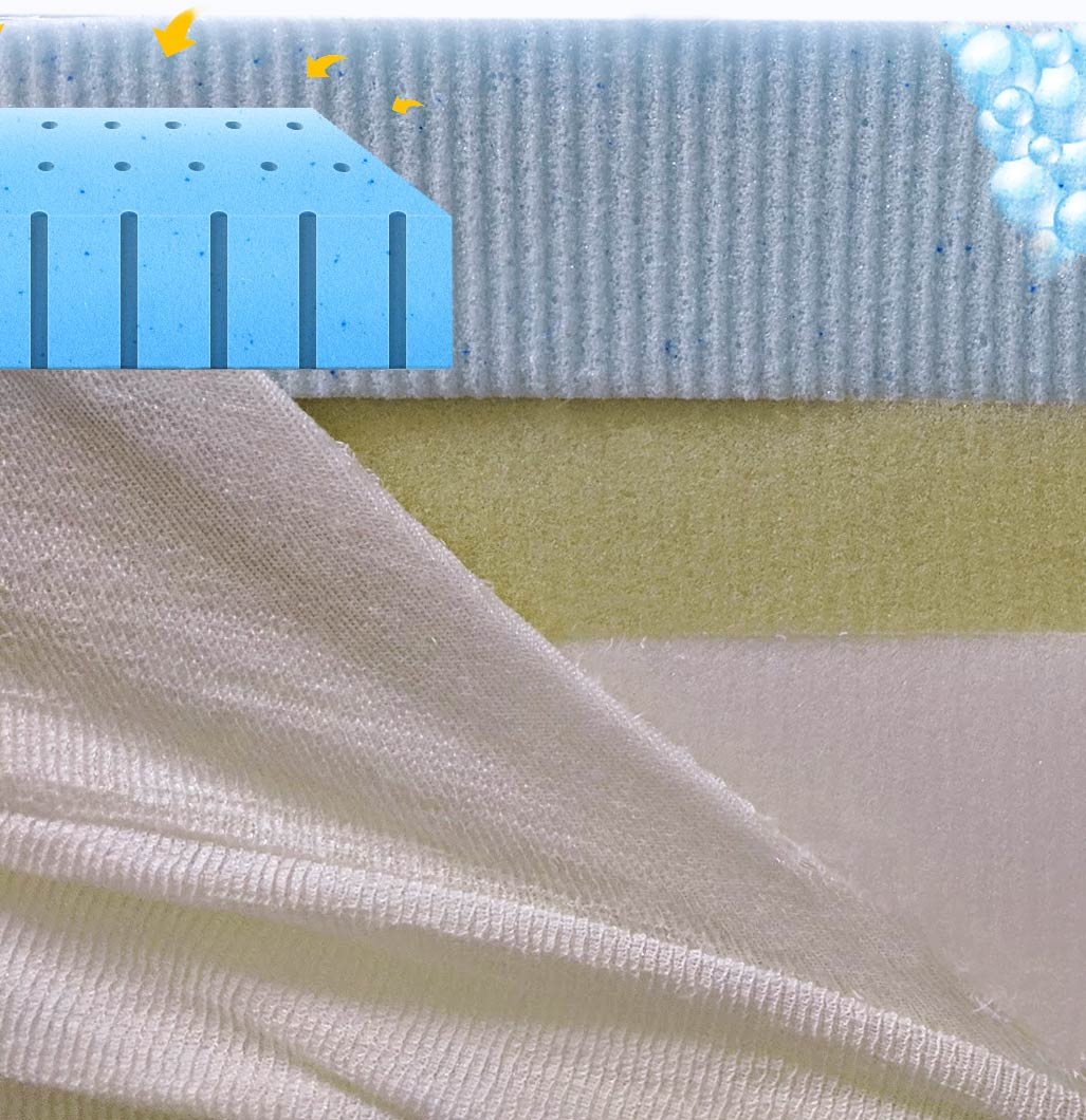 With the fire-retardant fire sock pulled back you can view the Nighslee Mattress AirGel memory foam that keeps it a little cooler with ventilated air holes, allowing air to move around and infused microbeads in the foam to absorb heat