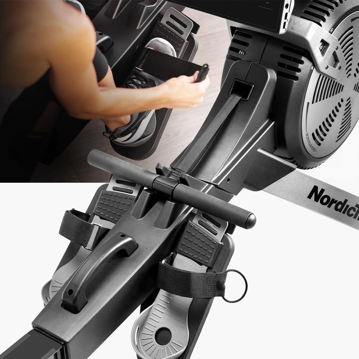 Users report that they like the easy to strap on foot-pedals on the  RW900 rower  and the resistance is challenging enough for even a serious rower