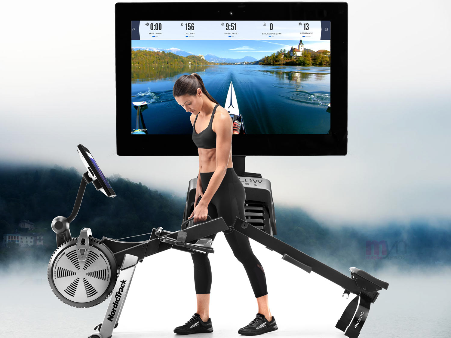 The ability to fold the  RW900 Rower  offers owners a nice space saving feature, while the 22 inch touchscreen console provides a picture crisp image for iFit destination rows