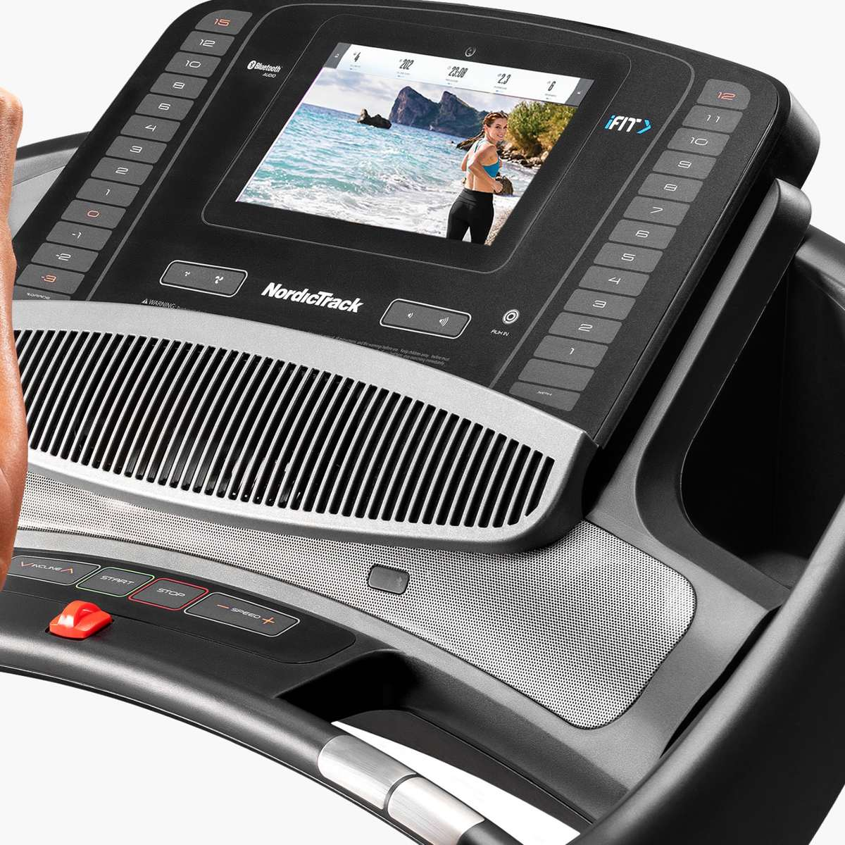1 touch console  with a 10 inch touchscreen powered by iFit for destination, trainer-led running