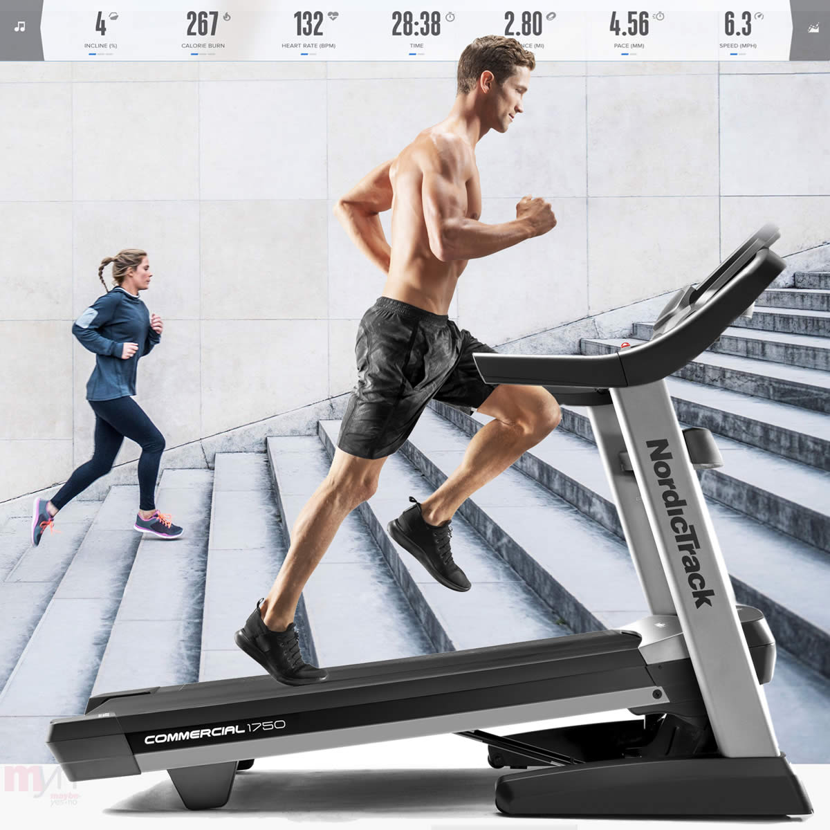 Get the Power of the Incline  with the  Commercial 1750 treadmill . The 15% incline and -3% decline will challenge you and allow you to burn more calories to meets your fitness or weight loss goals quicker