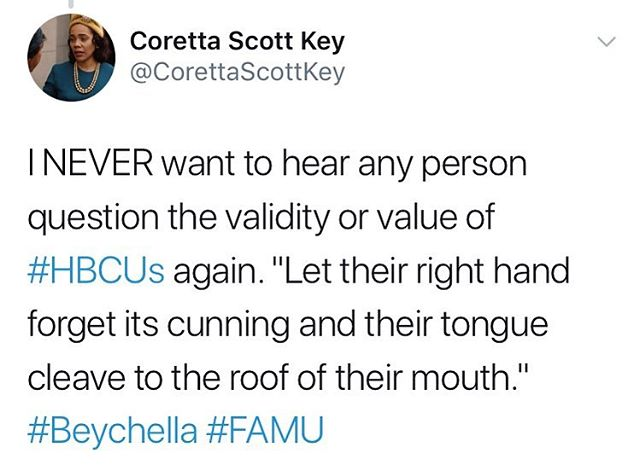 If you start to fix your mouth up to say anything against #HBCUs: 1️⃣Don't. 2️⃣ Watch @beyonce's #Beychella performance and appreciate the display of black excellence inspired by the #HBCUExperience 3️⃣ Donate to #HBCUs like you tithe to your black church, pay dues to your black sorority/fraternity 4️⃣ Thank God, Jesus, Oshun, and the ancestors for the fortitude to build and maintain institutions of higher learning #ForUsByUs.