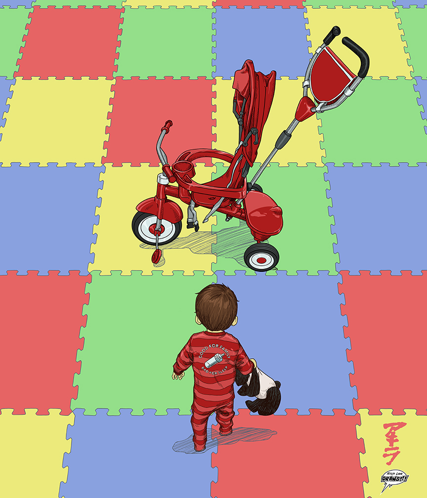 I'm a big fan of Katsuhiro Otomo's Akira. This was a drawing I made of my son when he was about 1.5 years old.