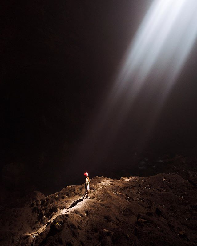 """I've been in many caves before but nowhere as grand and epic as this cave in Indonesia. These light rays also called """"heavens light"""" only happens once a day from 11am for an hour and a half and when no clouds are present. It had to be one of the most stunning displays of lights I've ever seen. #wonderfulindonesia"""