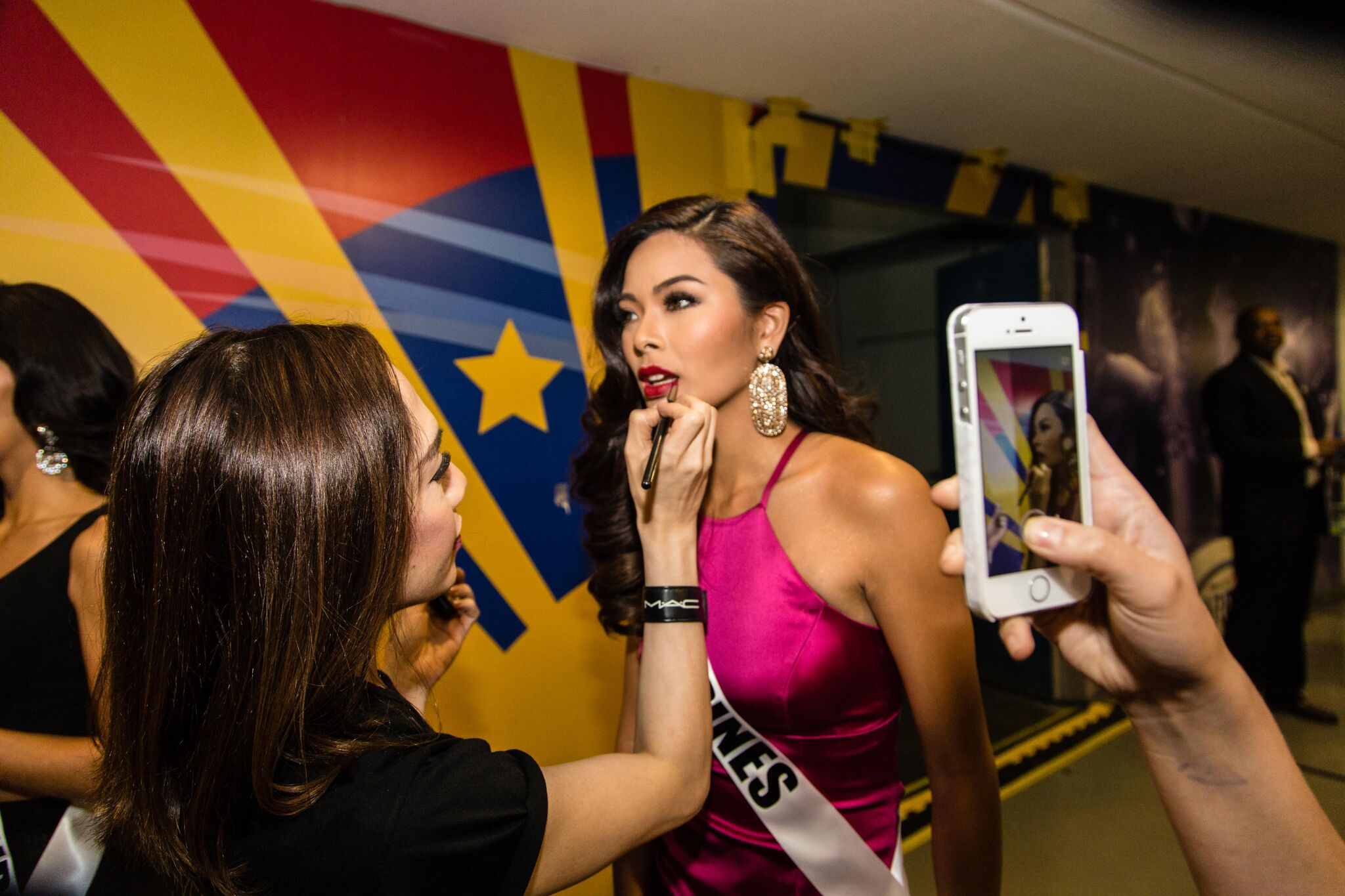 Our very own Miss Universe Philippines, Maxine Medina, getting prepped backstage.