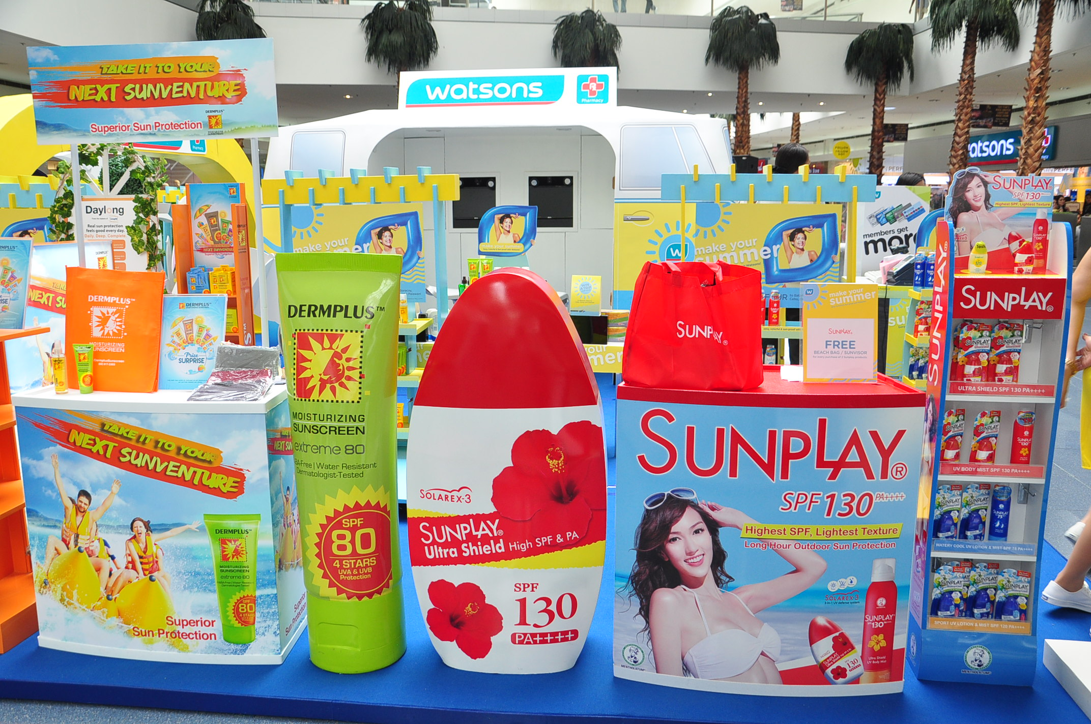 The Watsons Make Your Summer booths that we enjoyed! Someone remind us to get some Sunplay ASAP.