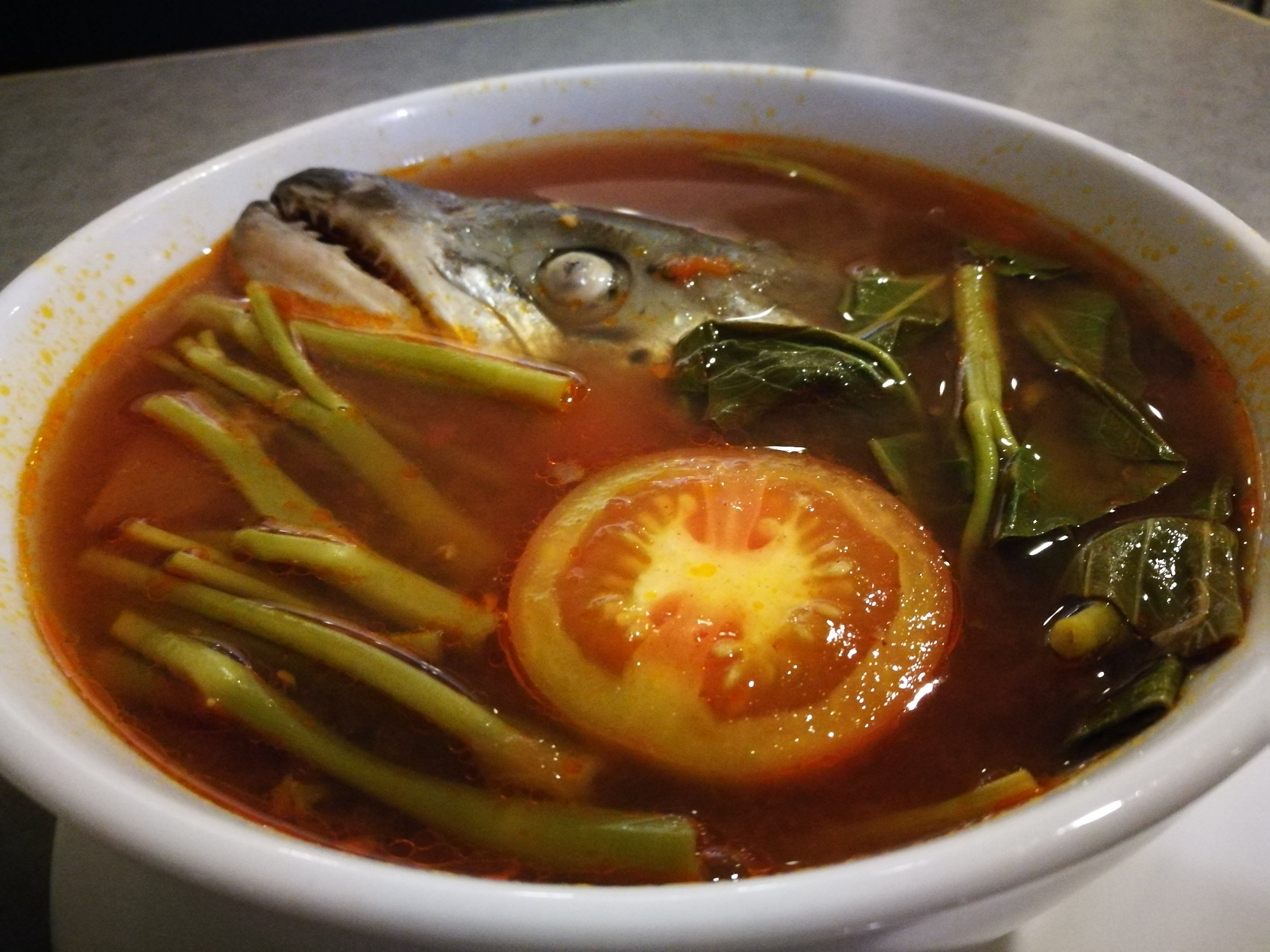Sinigang na ulo ng salmon at Yellowfin in Davao is chock-full of vegetables; a one dish meal