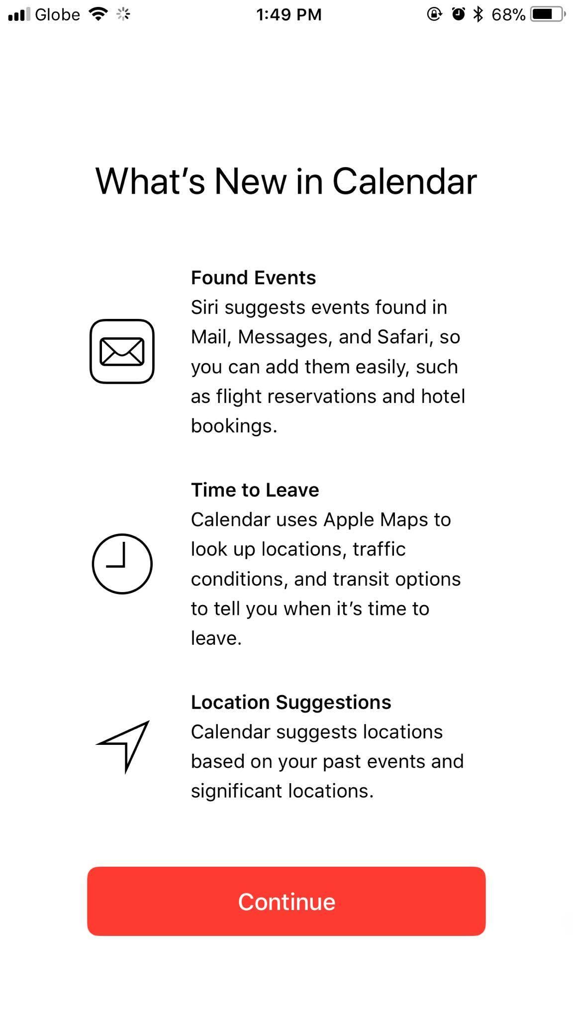 Calendar on iOS 11