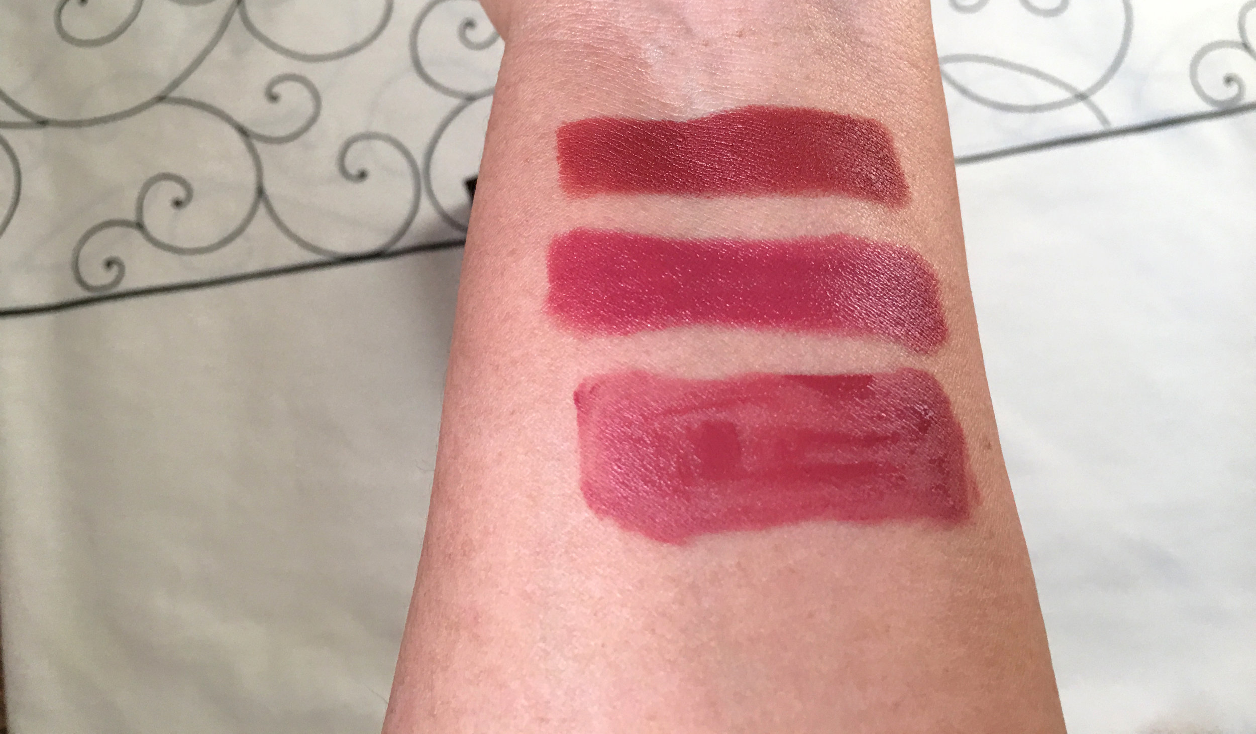 Note: Swatches from top are Elegant, Classy and Sassy.