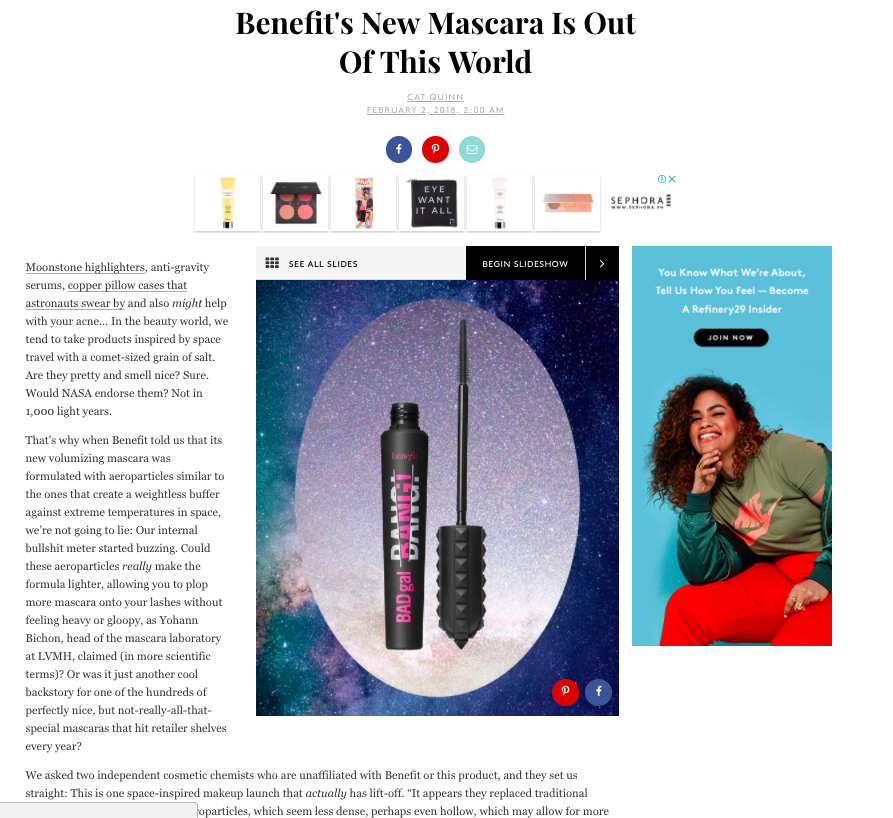 Refinery29 on Benefit Cosmetics' BADgal BANG! Mascara