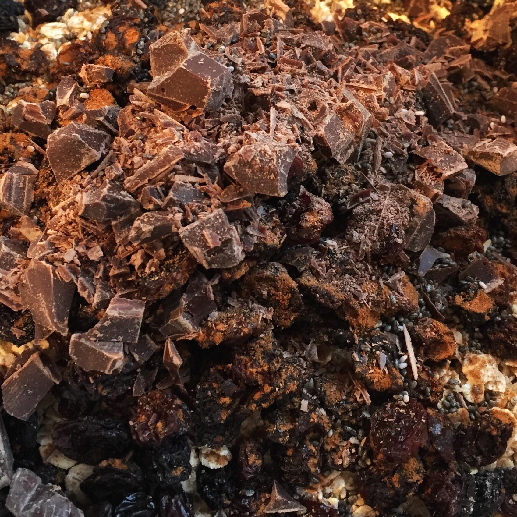 Throw in whatever you like! We added dark chocolate, chia seeds, raisins, cinnamon and honey...