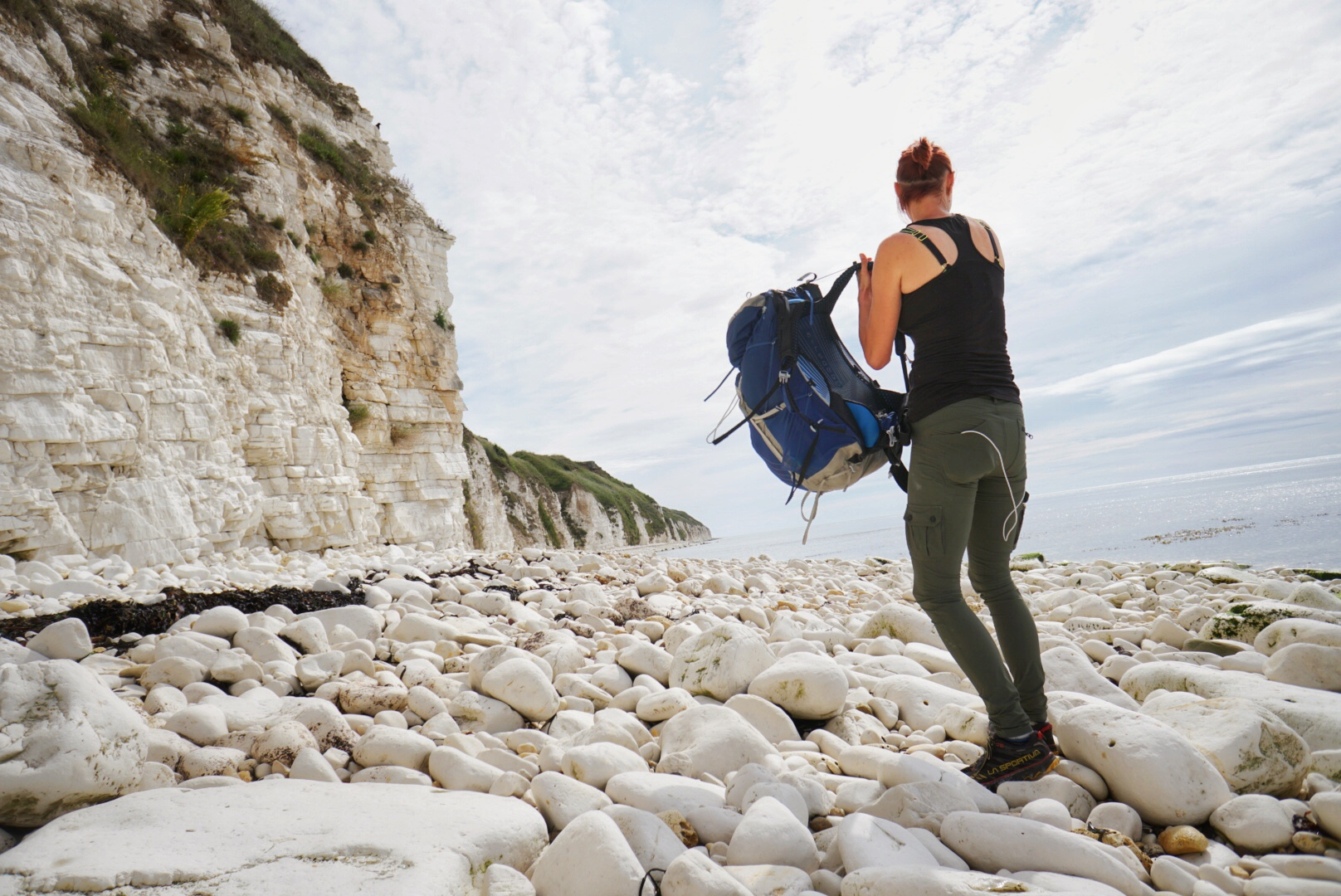 Setting off along beautiful Flamborough beaches where navigation is easy - keep the sea on your right