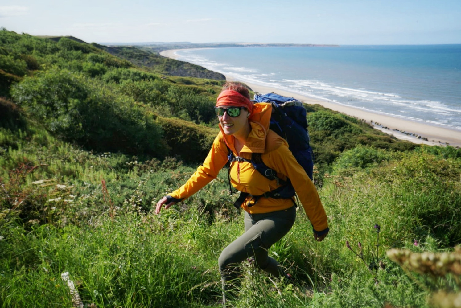 Scrambling from the cliff edge to the beach at Filey. According to the map there's a footpath!