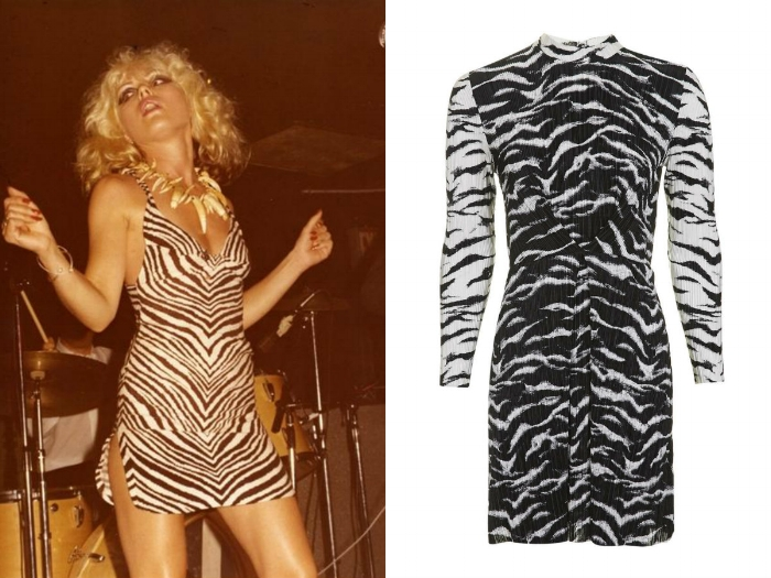 Debbie Harry  Effortless cool always went along with Debbie Harry's statement outfits in the late 70s. And did you heat? Zebra print has made a comeback, just take a look at the latest Topshop Unique show. Perfect for those bored of leopard print and looking to emulate Debbie Harry's heyday looks.   TOPSHOP ZEBRA PISSE DRESS SHOP NOW >