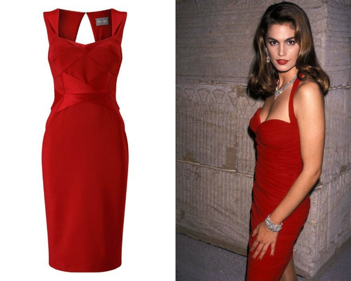 Cindy Crawford  Classic sophistication doesn't get much better than the immaculate early 90's looks worn by iconic supermodel sirens like Cindy Crawford. A classic red dress is festive as well as sexy. Add sparkling accessories for an all out glamorous finish.   PHASE EIGHT SATEEN MIX DRESS £99.00 SHOP NOW >   Shop more 'wow'  party dresses  from hundreds of retailers at    Octer   >