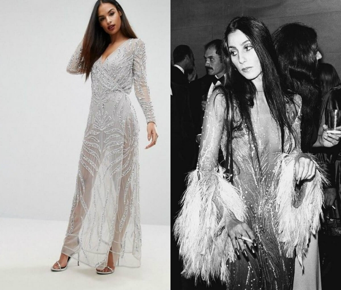 Cher  Cher knows a thing or two about glamour, so if you're going all out to a special event or you just want to make an entrance, look to your party fairy godmother (that's Cher) for the ultimate inspiration. Copy her ethereal vibes in this transparent embellished evening gown from ASOS. Team with relaxed hair to keep things effortless.   STARLET EMBELLISHED DRESS AT ASOS SHOP NOW >