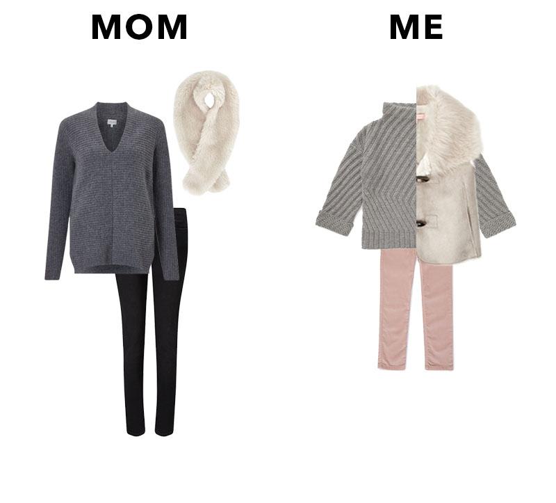 MOM//  Faux fur scarf  /  Grey V Neck Sweater  /  Black Skinny Jeans  - All Jigsaw ME//  Faux Fur Gilet  /  Grey Sweater  /  Pink Stretch Jeans  - All Jigsaw