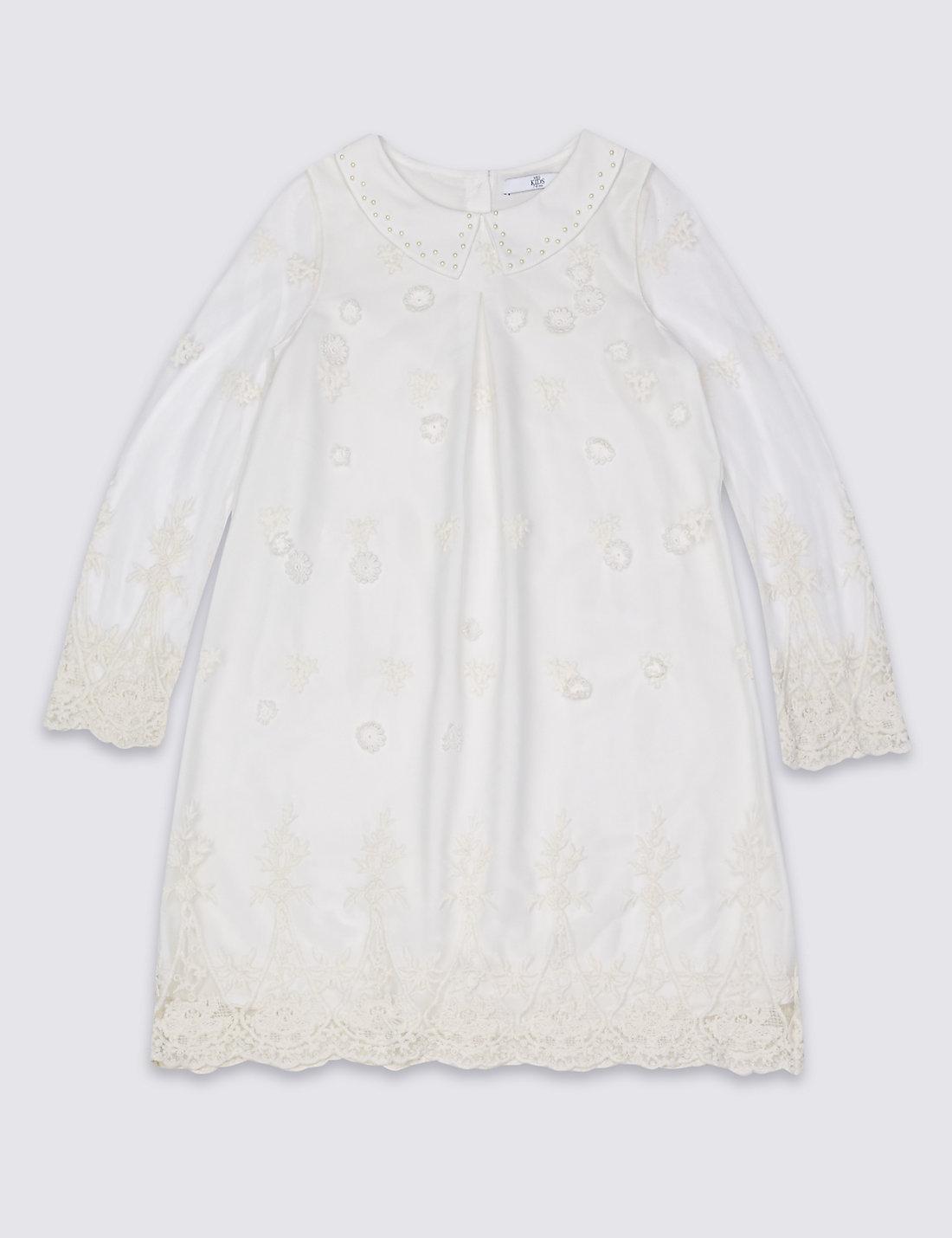 Long Sleeve Mesh Dress at M&S