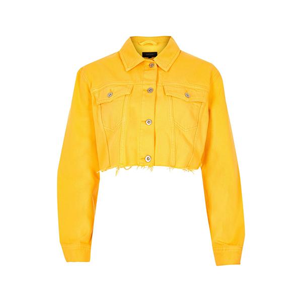 Yellow Raw Hem Cropped Jacket at River Island