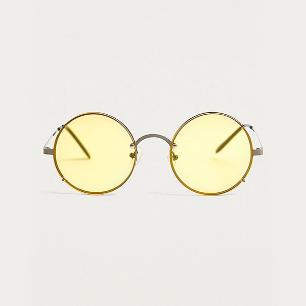 Yellow Round Sunglasses at Urban Outfitters