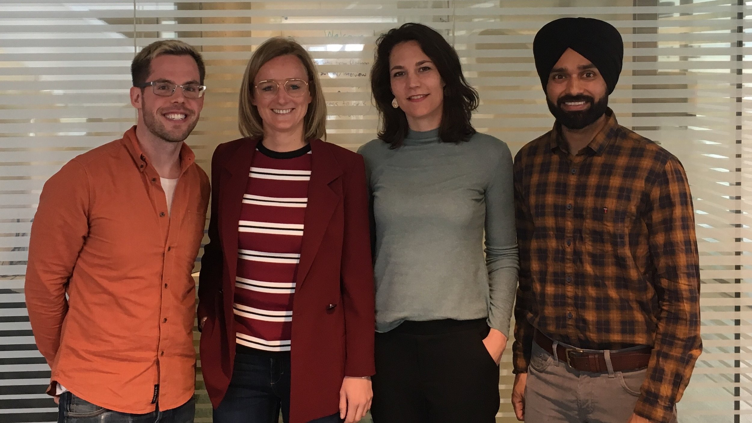 Steven & Jagdeep met with  FLOOW2  to discuss future collaboration in assessing the social impact of the platform.  Pictured (left to right): Steven Curtis, Laury Zwart, Lieke van Kerkhoven, Jagdeep Singh