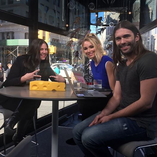 Barbara Viteri with Cheddar Hosts,Alyssa Julya Smith and Jonathan Van Ness