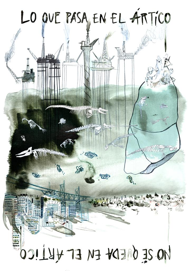 """Cartel para la campaña de Greenpeace """"#Lo que pasa en el Ártico, no se queda en el Ártico""""."""