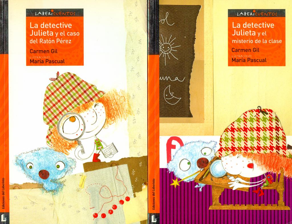 """Ilustración de los libros """"La detective Julieta y el caso del ratón Pérez"""" y """"La detective Julieta y el misterio de la clase"""",Editorial Laberinto."""