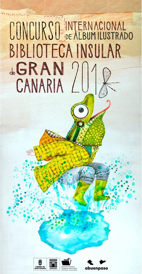 Cartel del Concurso Internacional de Álbum Ilustrado de la Biblioteca Insular de Gran Canaria 2018.