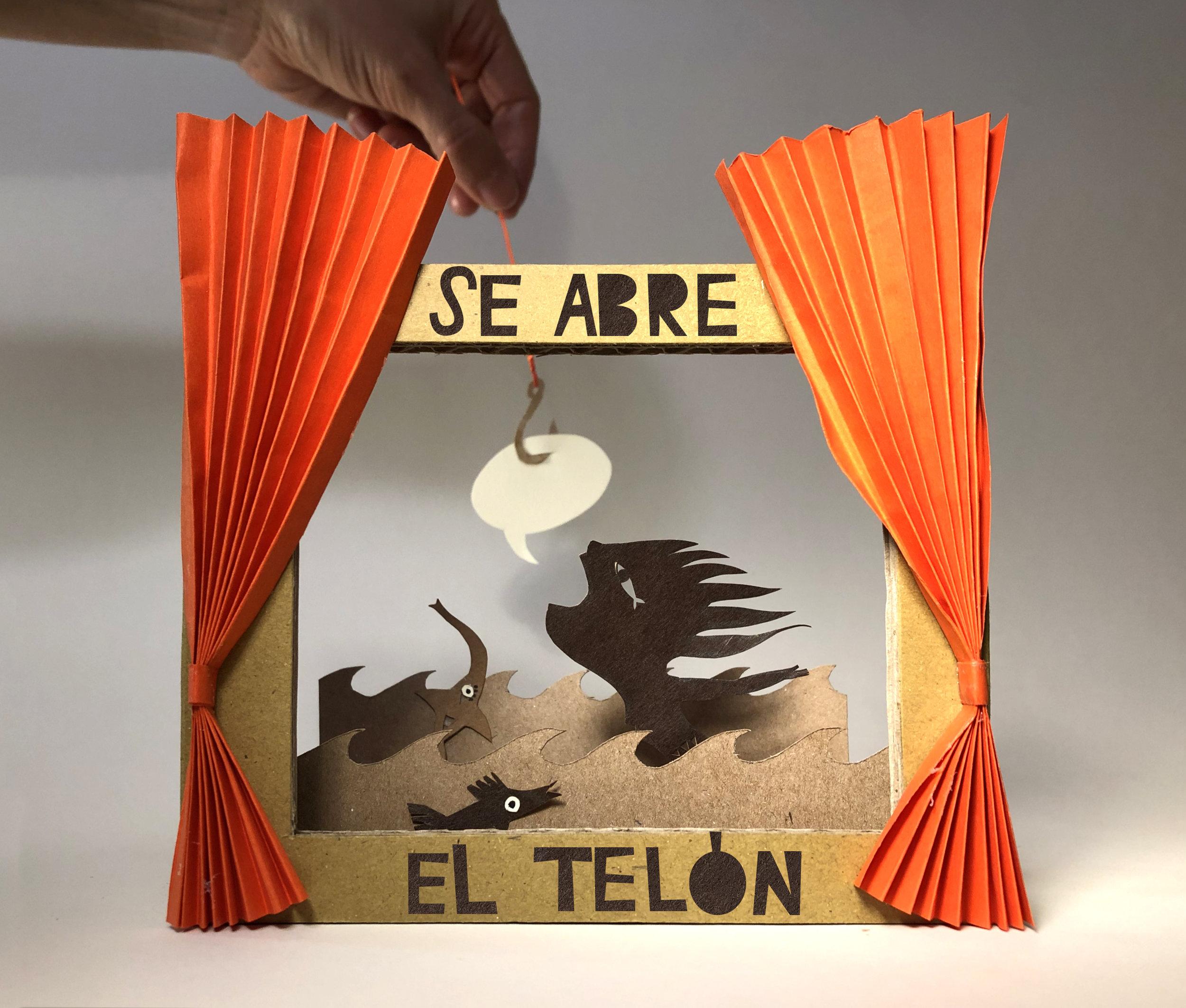 Se abre el Telón. A escena: de la idea a la palabra, de la palabra a la imagen y de la imagen a la representación.  Cartel para el taller de las  JORNADAS TIEMPO DE LECTURA 2019: imaginar viene de imagen .  Gijón, del 8 al 12 de julio de 2019.