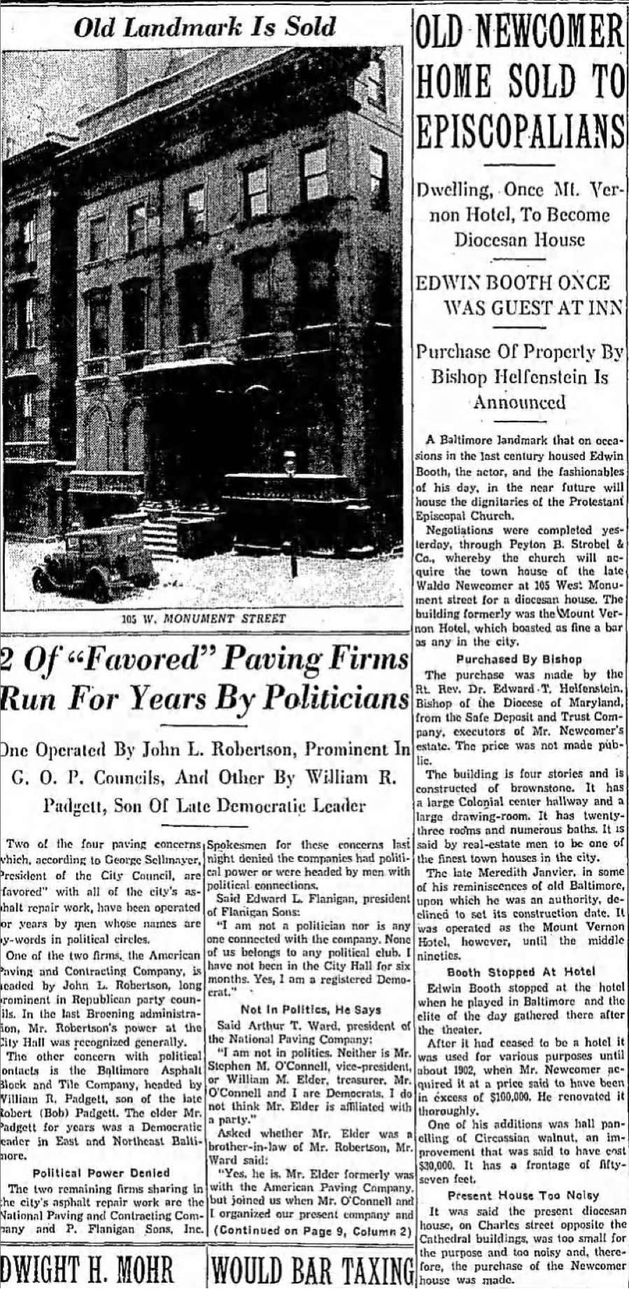 A story about the sale of 105 W. Monument in The Baltimore Sun, morning edition on February 12th, 1936.