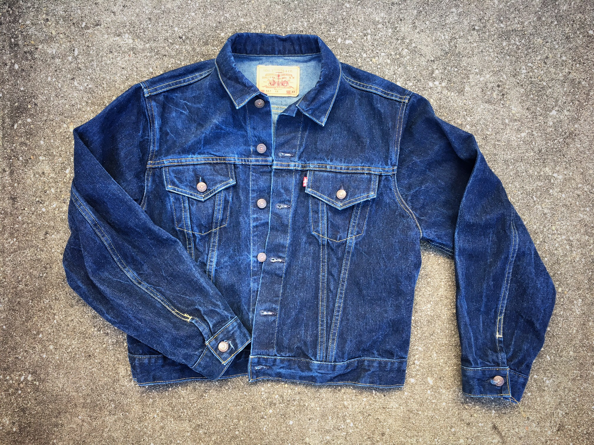 a late 1960's LEvi's (the capital E is apparently important) reproduction model 3 in indigo.