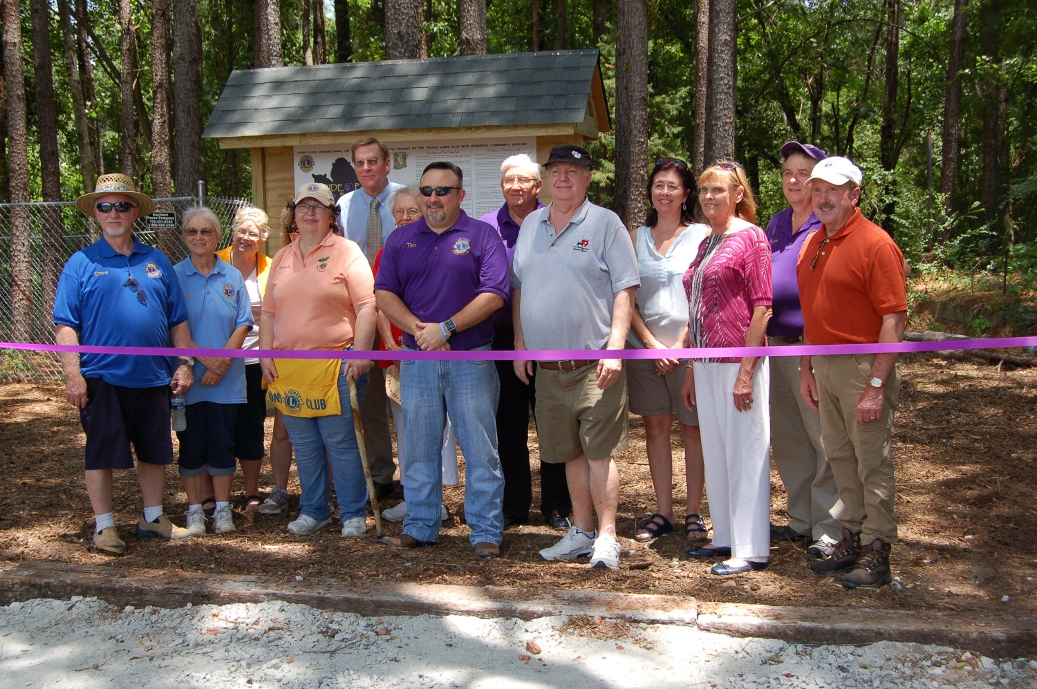 Dedication of Pride Paws Park June 24, 2018, shown are members of the Toccoa Lions Club, members of the Toccoa-Stpehens County Humane Shelter, and government officials