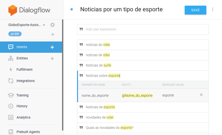 Using the Intents from DialogFlow platform to provide questions scenarios - In this example, the User Intention is to receive news from a specific kind of sport and for this Intention, we provided a list of expressions that are related and means the user has this specific intention.